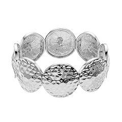 Silver Tone Hammered Circle Link Stretch Bracelet