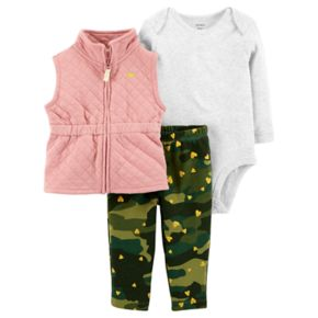Baby Girl Carter's Quilted Vest, Bodysuit & Heart Camouflaged Leggings Set