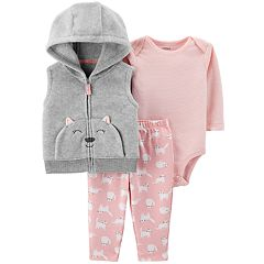 Baby Girl Carter's Fleece Cat Vest, Bodysuit & Leggings Set