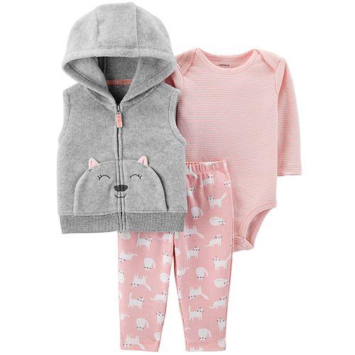 210456a0f Baby Girl Carter's Fleece Cat Vest, Bodysuit & Leggings Set