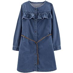 Girls 4-12 Carter's Ruffled Chambray Dress