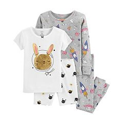 Toddler Girl Carter's Rabbit in Space Glittery Tops & Bottoms Pajama Set