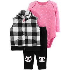 Baby Girl Carter's Buffalo Plaid Microfleece Vest, Polka-Dot Bodysuit & Panda Bear Pants Set