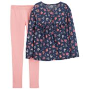 Girls 4-8 Carter's Floral Ruffled Top & Solid Leggings Set