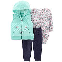 Baby Girl Carter's Polka-Dot Bear Microfleece Vest, Floral Bodysuit & Jeggings Set