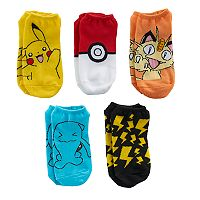 Boys 4-20 Pokemon 5-Pack No-Show Socks
