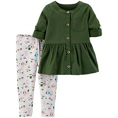 Baby Girl Carter's Peplum-Hem Shirt & Woodland Leggings Set