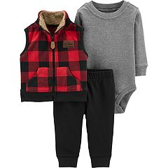 Baby Boy Carter's Buffalo Plaid Microfleece Vest, Bodysuit & Pants Set