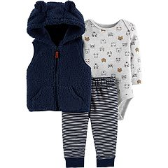 Baby Boy Carter's Animal Bodysuit, Sherpa Vest & Striped Pants Set