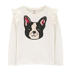 Girls 4-12 Carter's Sequined French Bulldog Graphic Tee