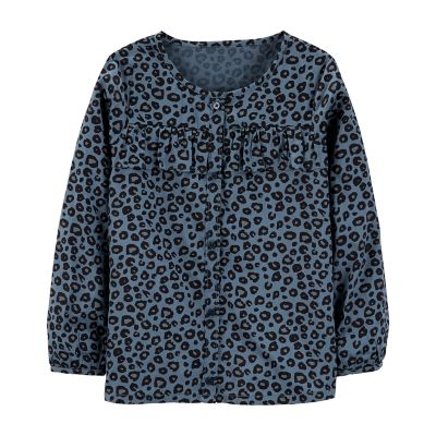 Girls 4-12 Carter's Cheetah Ruffled Shirt