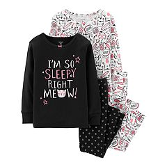 Toddler Girl Carter's Kitty Cat Glow-in-the-Dark Tops & Bottoms Pajamas