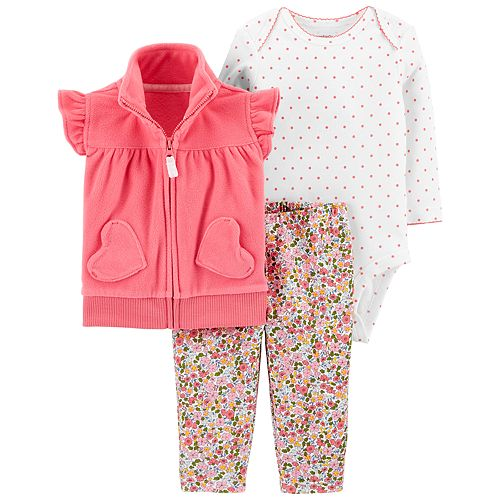 8ed8d75ac72d1 Baby Girl Carter's Ruffled Vest, Bodysuit & Floral Leggings Set
