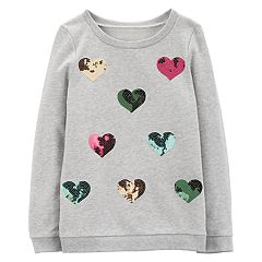 Girls 4-12 Carter's Sequined Heart French Terry Pullover