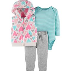 Baby Girl Carter's Heart Fleece Vest, Striped Bodysuit & Leggings Set