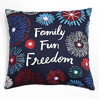 Americana ''Family, Fun, Freedom'' Light-Up Throw Pillow