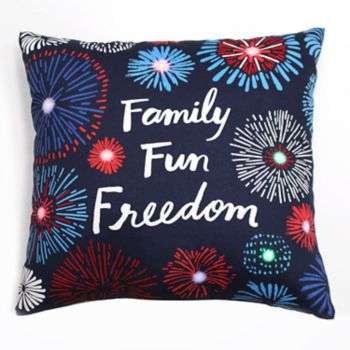 Americana ''Family, Fun, Freedom'' Light-Up Throw Pillow