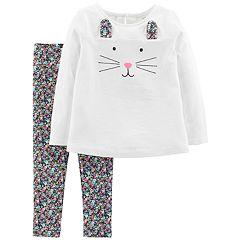 Baby Girl Carter's Bunny Top & Floral Leggings Set