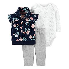 Baby Girl Carter's Floral Fleece Vest, Bodysuit & Leggings Set