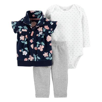 Baby Girl Carter's Floral Fleece Vest, Bodysuit & Leggings Set