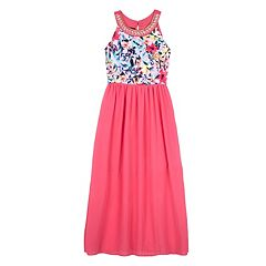 Girls 7-16 IZ Amy Byer Embroidered Sleeveless Scuba Bodice Dress
