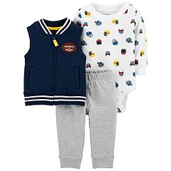 Baby Boy Carter's Football Quilted Vest, Bodysuit & Pants Set