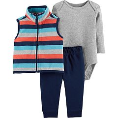Baby Boy Carter's Striped Fleece Vest, Bodysuit & Pants Set