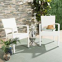 Safavieh Indoor / Outdoor Stacking Wicker Arm Chair 2 pc Set
