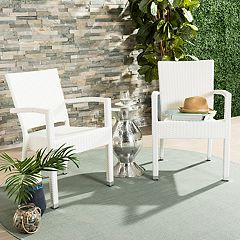 Safavieh Indoor / Outdoor Stacking Wicker Arm Chair 2-piece Set