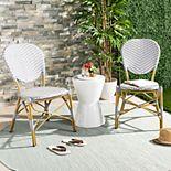 Safavieh Indoor / Outdoor Herringbone Stacking Bistro Chair 2-piece Set