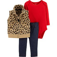 Baby Girl Carter's Cheetah Fleece Vest, Solid Bodysuit & Jeggings Set