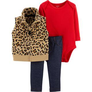 Baby Girl Carter's Cheetah Fleece Vest, Solid Bodysuit & Jeggings Set