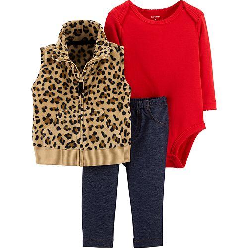 7d3da5404 Baby Girl Carter s Cheetah Fleece Vest