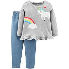 Baby Girl Carter's Unicorn & Rainbow Peplum Top & Chambray Pants Set