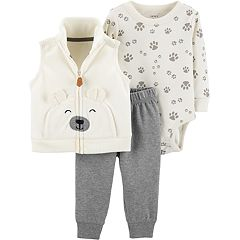 Baby Boy Carter's Fleece Vest, Paw Print Bodysuit & Pants Set