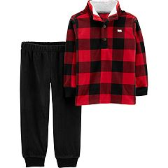 Baby Boy Carter's Checked Sherpa Pullover Fleece & Jogger Pants Set