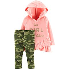 Baby Girl Carter's 'This Girl Is The Future' Ruffled Hoodie & Camouflage Leggings Set