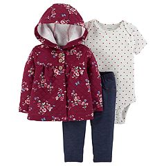 Baby Girl Carter's Floral Cardigan, Polka Dot Bodysuit & Jeggings Set