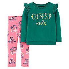 Baby Girl Carter's Ruffled Sweatshirt & Floral Leggings Set