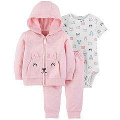 Baby Girl Carter's Bear Zip Hoodie, Bodysuit & Pants Set