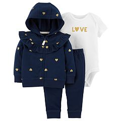 Baby Girl Carter's Metallic Heart Zip Hoodie, 'Love' Bodysuit & Pants Set
