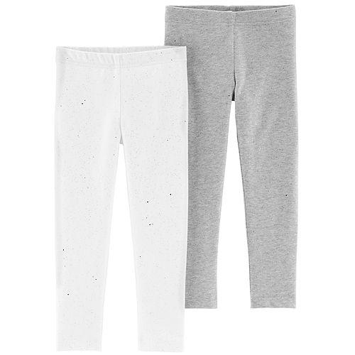654f30f249e5c Toddler Girl Carter's 2-pack Silver & White Glitter Leggings