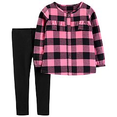 Toddler Girl Carter's Buffalo Check Flannel Shirt & Leggings Set