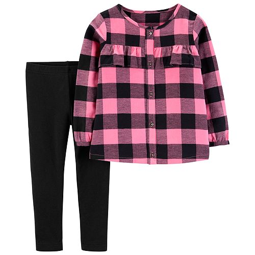 0c641b6d6 Toddler Girl Carter's Buffalo Check Flannel Shirt & Leggings Set