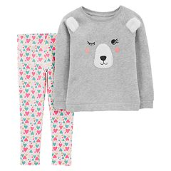 Toddler Girl Carter's Embroidered Bear Sweatshirt & Heart Leggings Set
