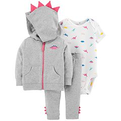 Baby Girl Carter's 3-D Spikes Dinosaur Zip Hoodie, Bodysuit & Pants Set