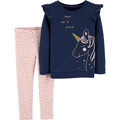 Toddler Girl Carter's Unicorn 'One Of A Kind' Graphic Sweatshirt & Glitter Leggings Set