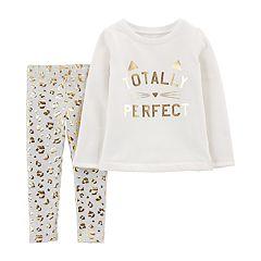 Toddler Girl Carter's 'Totally Perfect' Foiled Graphic Sweatshirt & Cheetah Print Leggings Set
