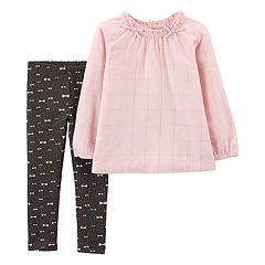 Toddler Girl Carter's Cinched Lurex Top & Bow Leggings Set