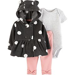 Baby Girl Carter's Dot Fleece Cardigan, Striped Bodysuit & Leggings Set
